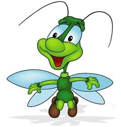 Green smiling bug vector
