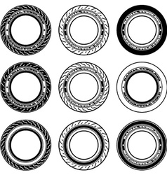 Radial tubeless motorcycle tyre symbols vector