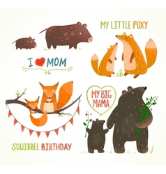 Cartoon forest animals parent with baby birthday vector