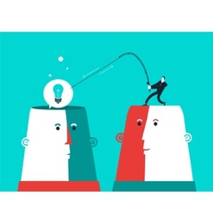Two heads with man who catch the bulb business vector