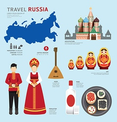 Travel concept russia landmark flat icons vector