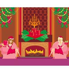 Two pin up santa girls vector