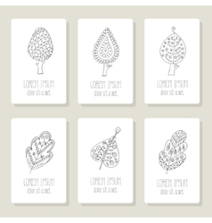 Set of cards with doodle trees flowers fruits vector