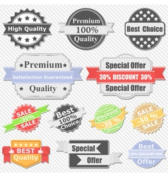 Premium quality and sale labels vector