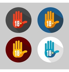 Round icon of 18 sign like hand vector