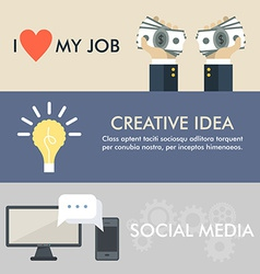 Flat design concept for job idea social media vector