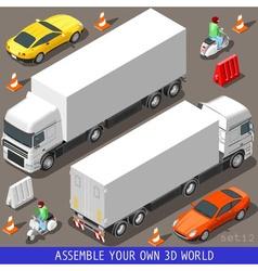 Isometric flat 3d vehicle vespa truck set vector