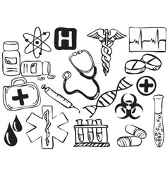 Medical and pharmacy icons drawing vector