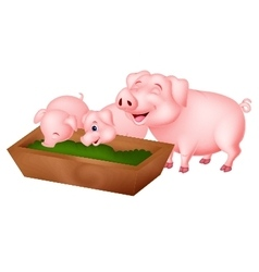 Happy cartoon pig eating vector