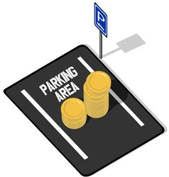 Coins on parking lot vector
