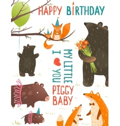Birthday with forest animals mothers and babies vector