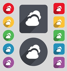 Cloud icon sign a set of 12 colored buttons and a vector