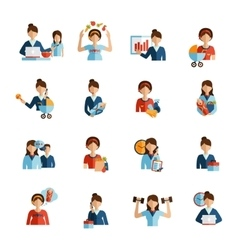 Businesswoman mother flat icons set vector