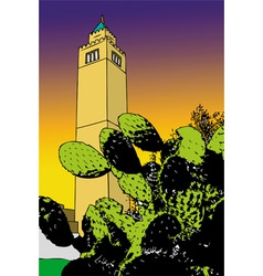 Cactus and minaret  tunis vector