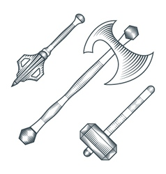 Medieval axe warhammer mace engraving style vector