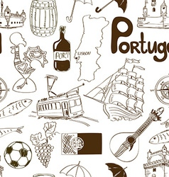 Sketch portugal seamless pattern vector