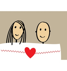 Enamored couple in bed vector