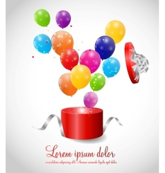 Color glossy balloons in gift box background vector