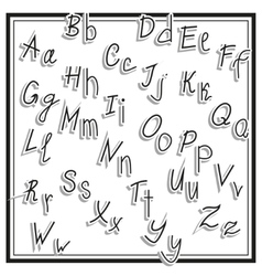 Hand cut alphabet sticker set white color school vector