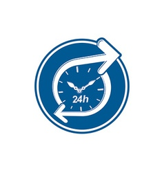 24 hours-a-day concept clock face with a dial and vector