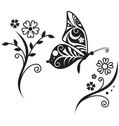 Inwrought butterfly silhouette and flower vector