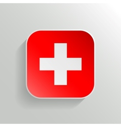 Button - switzerland flag icon vector