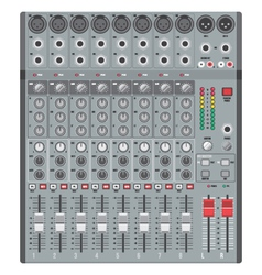 Eight channels professional studio sound mixer vector
