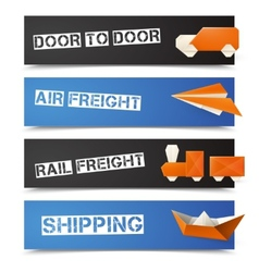 Origami logistic banners vector