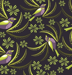 Seamless pattern with birds hand-drawing vector