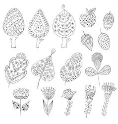 Set of cartoon doodle trees flowers fruits vector