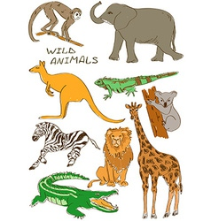 Set of isolated wild animals vector