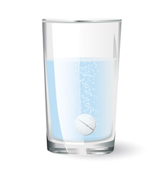 Effervescent tablet in glass of water vector