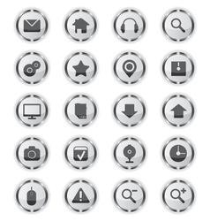Web metal glass icons vector
