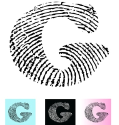 Fingerprint alphabet letter g vector