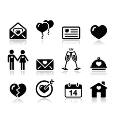 Love valentine black icon set vector