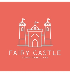 Abstract fairy tale castle line style logo vector