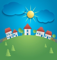 The small town on a green hill background vector