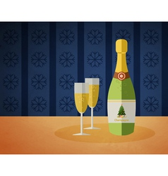 New years champagne bottle vector