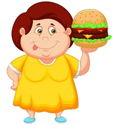 Fat girl cartoon smiling and ready to eat a big ha vector