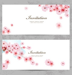 Invitation cards with a blossom sakura for your vector