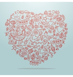 Big heart with decorative details on light vector