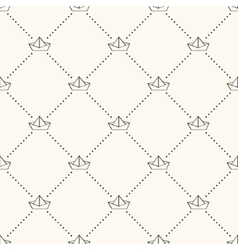 Seamless nautical retro pattern with paper boats vector