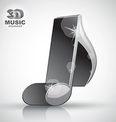 Trendy metallic slim musical note 3d modern style vector