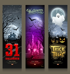 Happy halloween collections banner vertical design vector