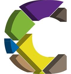 3d font letter c vector