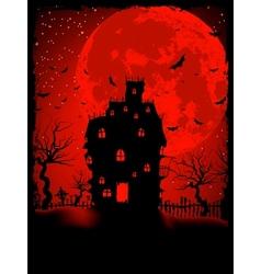 Scary halloween castle vector
