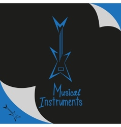 Musical instruments shop sign with guitar vector