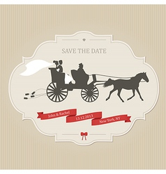 Vintage wedding invitation with retro carriage vector