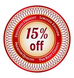 Label on 15 percent discount vector