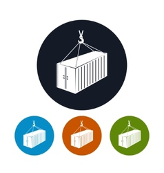 Icon container with crane vector